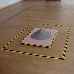 'Installation 1', huile sur toile, ciment et adhésif, 2013