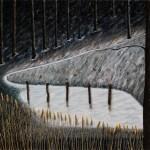 'La Clairière', huile sur toile, bois et blé, 165 cm x 130 cm, 2012