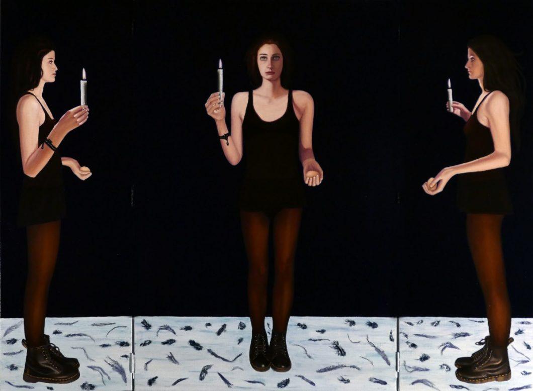 'Triptyque ouvert', huile sur toile, plumes, cire, 160 cm x 120 cm, 2015