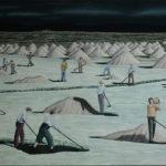 'Aigue Morte', Huile sur toile, sel, 97 cm x 146 cm, 2017