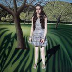 La Nouvelle Eve, huile sur toile, terre, peau de serpent, 130 cm x 130 cm, 2018