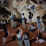 'Cave Women', huile sur toile, sable rouge, 190 cm x 190 cm, 2019